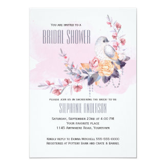 Spring Bouquet and Dove Bridal Shower Invitation