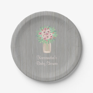 Spring  Bouquet Baby Shower Personalized Plate 7 Inch Paper Plate