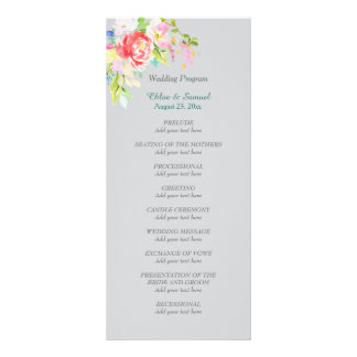 Spring Bouquet Border Wedding Program Custom Rack Cards
