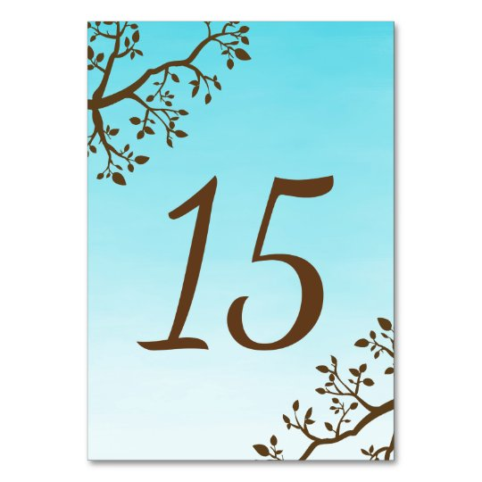 Spring Branches Wedding Table Number