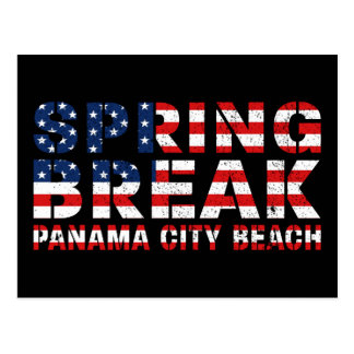 Spring Break Panama City Beach US Flag Postcard