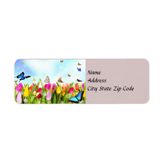 Spring Butterflies and Flowers Address Label