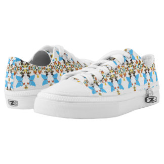 Spring Butterfly Colored Collage Vibrant Printed Low-Top Sneakers