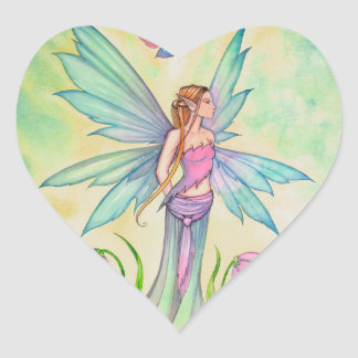 Spring Butterfly Fairy Fantasy Art Heart Sticker