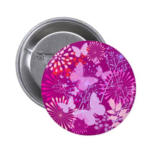 Spring Butterfly Garden Vibrant Purple Pink Girly Pins