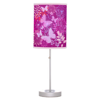 Spring Butterfly Garden Vibrant Purple Pink Girly Table Lamp
