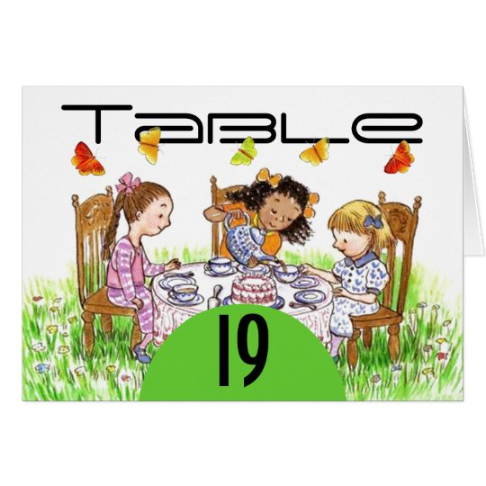 Spring Butterfly Girls Tea Table Number Cards