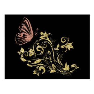 Spring Butterfly Golden Glittery Postcard