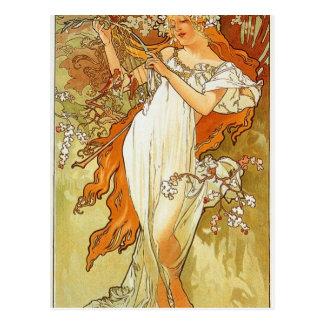 Spring by Alphonse Mucha Postcard
