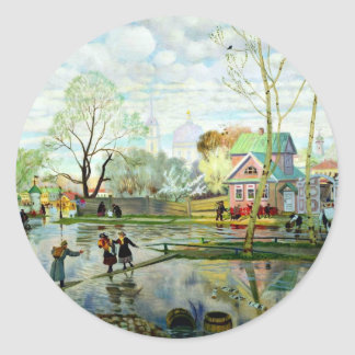 Spring by Boris Kustodiev Round Sticker