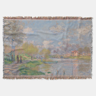 Spring by the Seine Claude Monet Throw Blanket