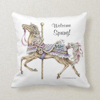 Spring Carousel Horse Drawing Pillow