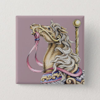 Spring Carousel Horse Drawing Square Button