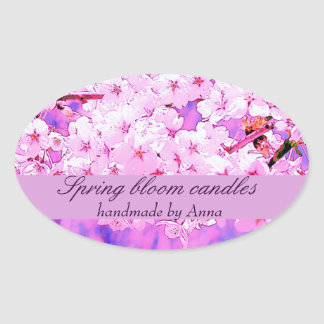 Spring cherry blooms in tender pink tones oval sticker