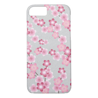 Spring Cherry Blossom Blooms on Grey iPhone 7 Case
