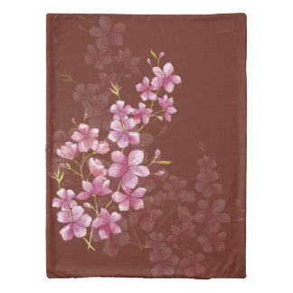 Spring Cherry Blossom Floral Watercolor Style Duvet Cover