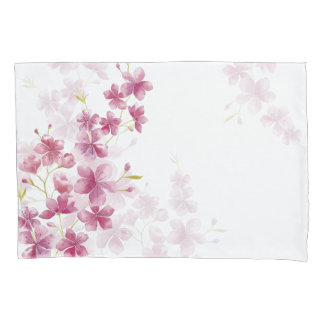 Spring Cherry Blossom Floral Watercolor Style Pillowcase