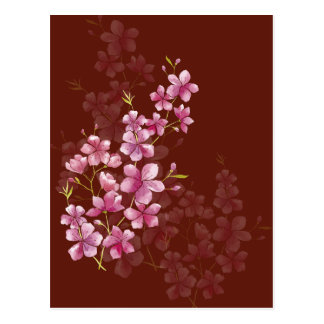 Spring Cherry Blossom Floral Watercolor Style Postcard