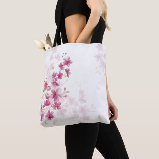 Spring Cherry Blossom Floral Watercolor Style Tote Bag