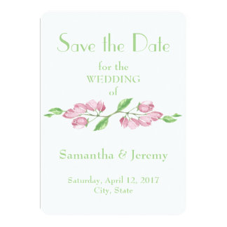 Spring Cherry Blossom Flowers Save the Date Floral Card