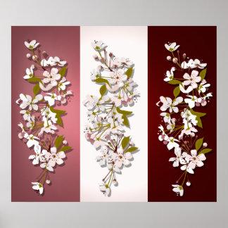 Spring Cherry Blossom Panels Print