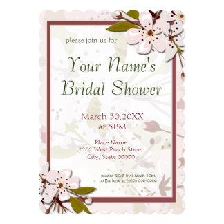 "Spring Cherry Blossoms Bridal Shower 5"" X 7"" Invitation Card"