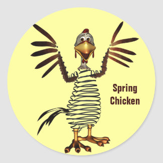Spring Chicken Round Sticker