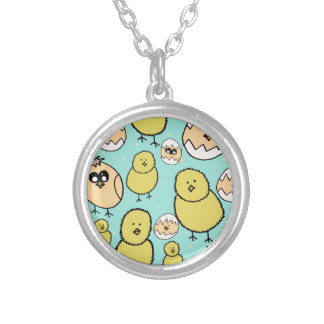 spring chicken silver plated necklace