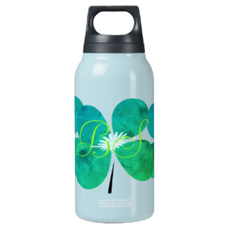 Spring  Collection Mint Green Flower  Add Initials Insulated Water Bottle