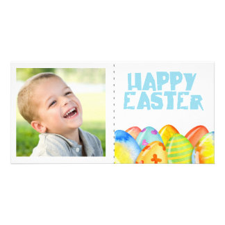 Spring colorful  Easter single Photocard Photo Greeting Card