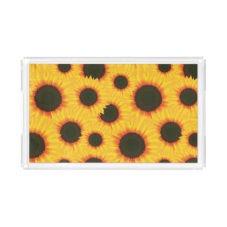 Spring colorful pattern sunflower acrylic tray