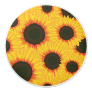 Spring colorful pattern sunflower ceramic knob