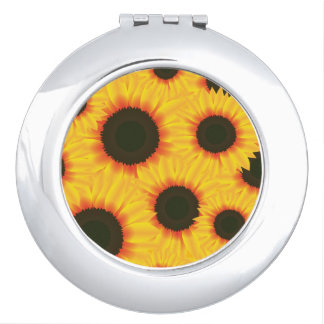 Spring colorful pattern sunflower compact mirror