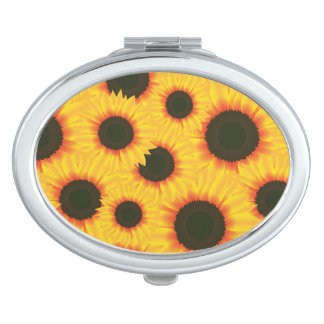 Spring colorful pattern sunflower compact mirrors