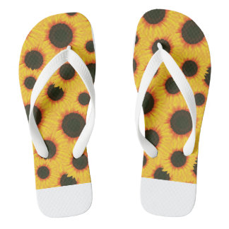 Spring colorful pattern sunflower flip flops