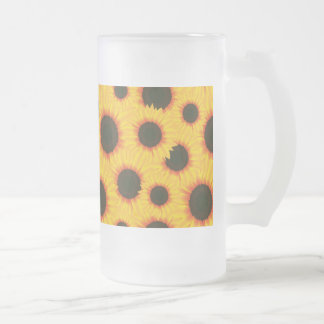 Spring colorful pattern sunflower frosted glass beer mug