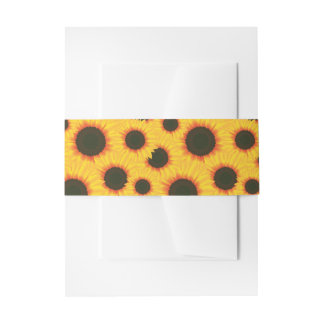 Spring colorful pattern sunflower invitation belly band