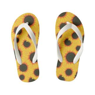 Spring colorful pattern sunflower kid's flip flops