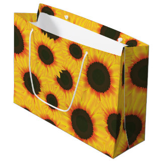 Spring colorful pattern sunflower large gift bag