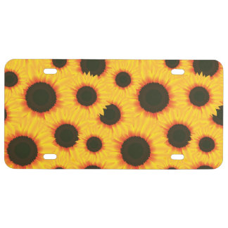 Spring colorful pattern sunflower license plate