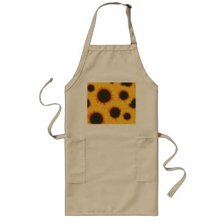 Spring colorful pattern sunflower long apron