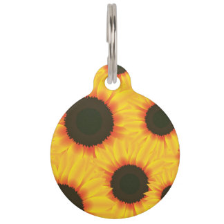 Spring colorful pattern sunflower pet ID tag