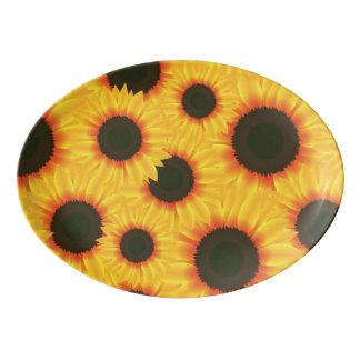Spring colorful pattern sunflower porcelain serving platter