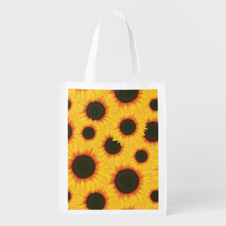Spring colorful pattern sunflower reusable grocery bag