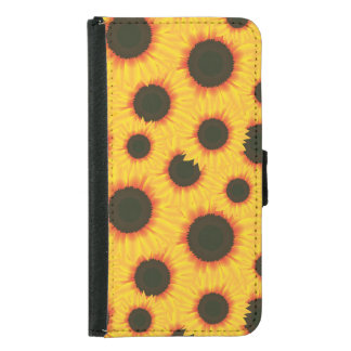 Spring colorful pattern sunflower samsung galaxy s5 wallet case