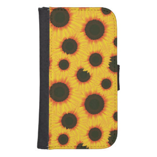 Spring colorful pattern sunflower samsung s4 wallet case