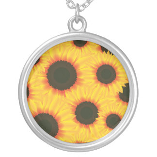 Spring colorful pattern sunflower silver plated necklace