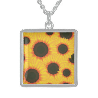 Spring colorful pattern sunflower sterling silver necklace