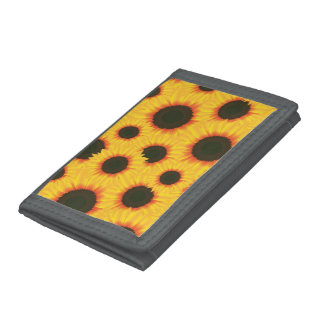Spring colorful pattern sunflower tri-fold wallet