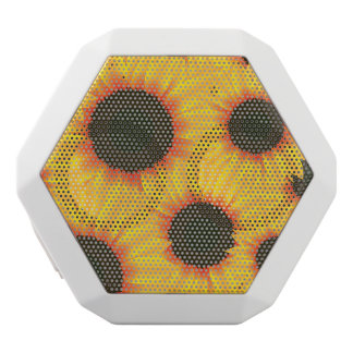 Spring colorful pattern sunflower white bluetooth speaker
